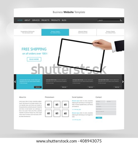 Quality Website Template Vector Eps10 Modern Web Design With Flat