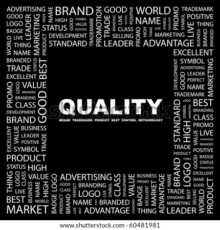 QUALITY. Word collage on black background. Illustration with different association terms.