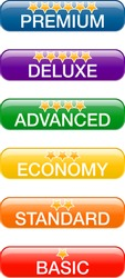 Quality word concept on buttons with supporting words: basic; default; economy; advanced; deluxe; premium
