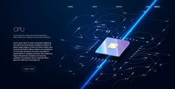 Quantum computer, large data processing, database concept.CPU isometric banner. Central Computer Processors CPU concept.Digital chip Futuristic microchip processor with lights on the blue background.