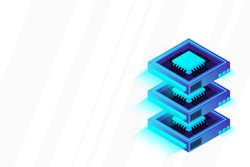 Quantum computer, large data processing, server room, artificial intelligence, data base concept, the microprocessor isometric vector