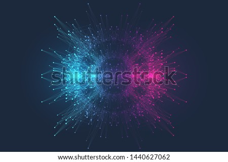 Quantum computer technology concept. Deep learning artificial intelligence. Big data algorithms visualization for business, science, technology. Waves flow, dots, lines. Quantum vector illustration