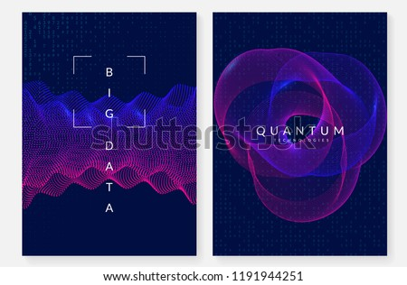 Quantum computing background. Technology for big data, visualization, artificial intelligence and deep learning. Design template for screen concept. Cyber quantum computing backdrop.
