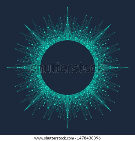 Quantum computing technology concept. Deep learning artificial intelligence. Big data algorithms visualization for business, science, technology. Waves flow, dots, lines. Quantum vector illustration.