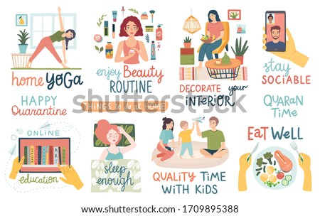 Quarantine activities letterings and other elements. Things to do at home. Vector illustration.