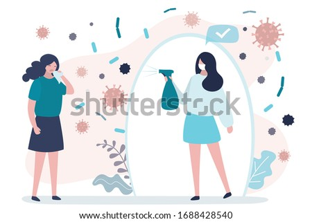 Quarantine Failure concept. Sick woman sneezes and coughs. Spread of viral infection. Healthy girl use sanitizer for protection. Social distancing. Covid-19 pandemic banner. Flat vector illustration