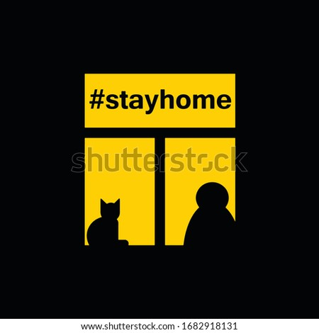Quarantine stay home sign. Coronavirus lockdown concept. Stay home and keeping social distance. Woman and her cat are sitting at home in isolation fleeing the COVID-19 virus pandemic. Stockfoto ©