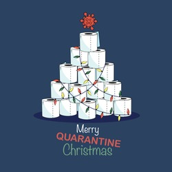 Quarantine style christmas card with toilet paper christmas tree