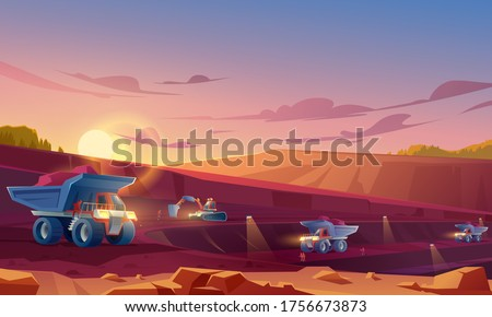 Quarry mining with miners, heavy industrial machinery and transport. Dump trucks carry coal or metal ore at opencast. Pit dawn landscape, mine production, stone quarrying. Cartoon vector illustration