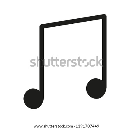 Quarter, quaver note icon, symbol. Vector illustration of quaver isolated on white background.