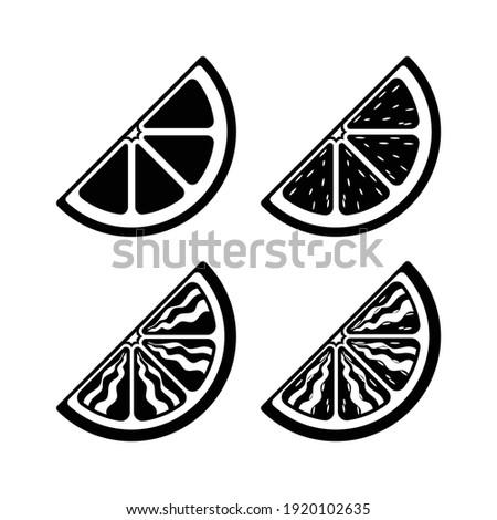 Quarter slice citrus fruit wedge vector icon silhouette set. Simple to detailed illustration. Flat clip art logo design. Sign symbol for nature diet, fruit, health etc.