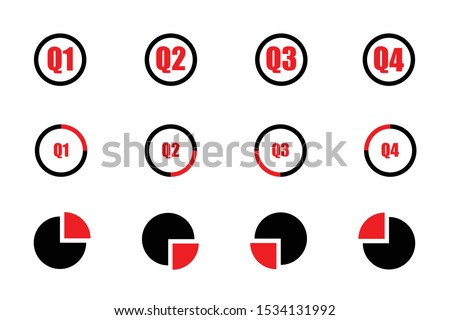 Quarterly icon set red and black showind first quarter second quarter third quarte and fourth quarter on three different designs isolated on white background Foto stock ©