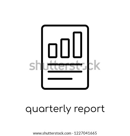 Quarterly report icon. Trendy modern flat linear vector Quarterly report icon on white background from thin line business collection, editable outline stroke vector illustration