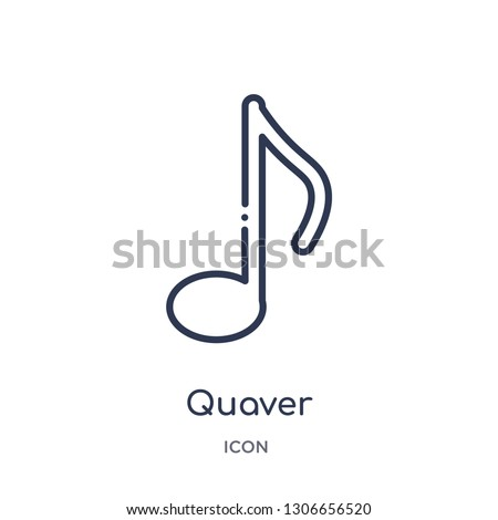 quaver icon from music and media outline collection. Thin line quaver icon isolated on white background.