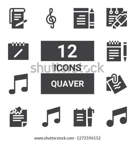 quaver icon set. Collection of 12 filled quaver icons included Note, Music note, Notes