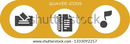 quaver icon set. 3 filled quaver icons.  Simple modern icons about  - Note, Notes, Musical note