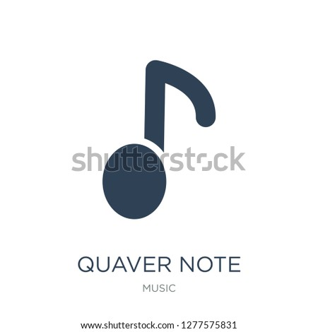 quaver note icon vector on white background, quaver note trendy filled icons from Music collection, quaver note vector illustration
