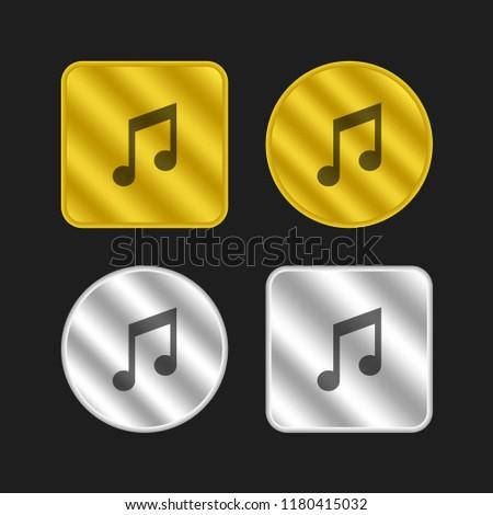 Quavers pair gold and silver metallic coin logo icon design