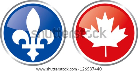Quebec and canada emblem button