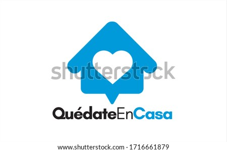 Quedate en casa (Stay home in spanish). Campaign against coronavirus, covid-19, 2019-ncov. Poster for print and stamps. Message isolated on white background. Imagine de stoc ©