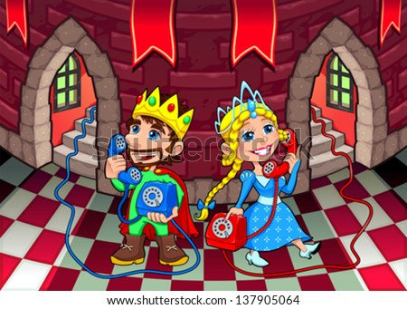 Queen and King at the phone. Cartoon and vector illustration.