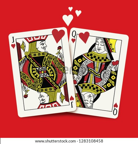 Queen and King of Hearts Playing Cards, Valentine's Day