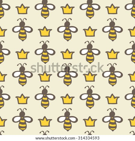 queen bee hand drawn seamless