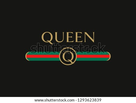 queen gold text with letter q
