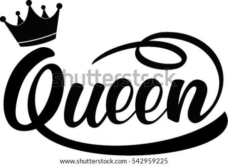 queen hand lettering  vector