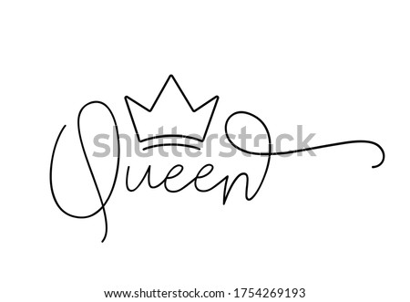 QUEEN. Lettering typography script text with crown for poster, vector design banner. Modern calligraphy script queen. Hand drawn calligraphy word - queen. Print for tee shirt. Сток-фото ©