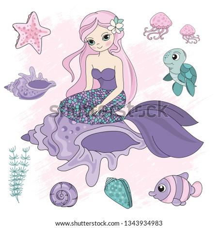 QUEEN MERMAID Girl Princess Cartoon Sea Ocean Underwater Travel Tropical Cruise Vacation Vector Illustration Set Print Fabric Decoration