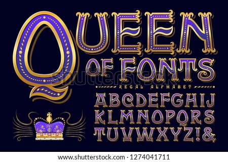 Queen of Fonts is a regal antique-styled alphabet. The ornate detailing is suggestive of medieval or renaissance Europe