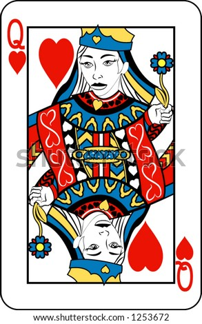 Queen of Hearts from deck of playing cards, rest of deck available.