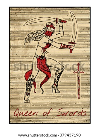queen of swords in red the