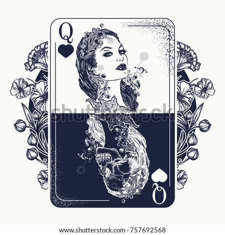Queen playing card and art nouveau flowers tattoo and t-shirt design. Beautiful girl skeleton. Symbol of gamblings