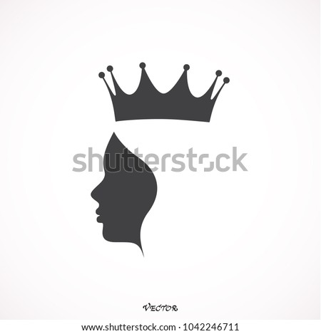 queen wearing crown logo. black flat style