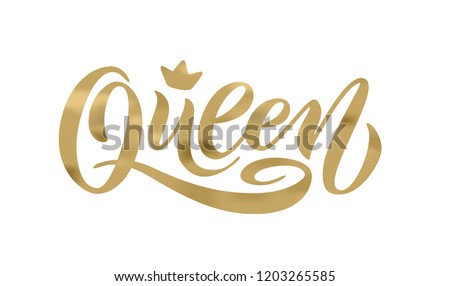 Queen word with crown. calligraphy fun design to print on tee, shirt, hoody, poster banner sticker, card. Hand lettering queen text vector illustration