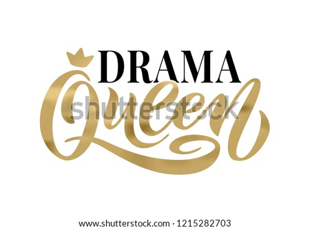 Queen word with crown. calligraphy fun design to print on tee, shirt, hoody, poster banner sticker, card. Hand lettering text vector illustration
