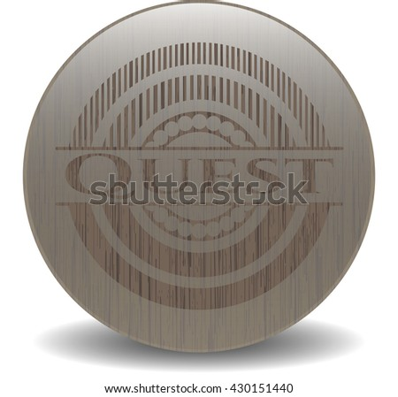 Quest badge with wooden background