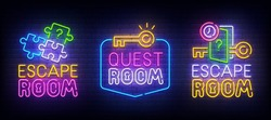 Quest Room neon logo. Escape Room label and emblem. Neon sign, isolated sticker, bright signboard, light banner. Vector illustration