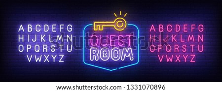 Quest Room neon sign, bright signboard, light banner. Escape Room logo, emblem and label. Neon sign creator. Neon text edit