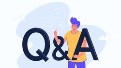 Question and answer concept vector illustration of happy man standing near letters and gesturing. Flat casual design with letters symbols Q and A on white background