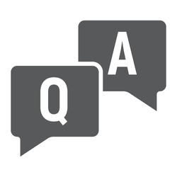 Question and answer glyph icon, e learning and education, speech bubble chat sign vector graphics, a solid pattern on a white background, eps 10.