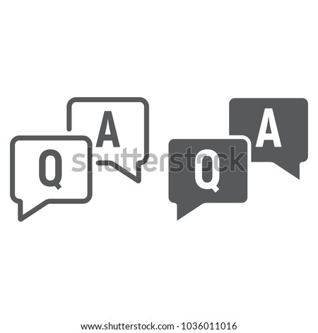 Question and answer line and glyph icon, e learning and education, speech bubble chat sign vector graphics, a linear pattern on a white background, eps 10.