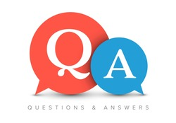 Question and Answers concept illustration template with big circle speech bubbles with QA letters - qustions and answers section icon, header image