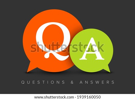 Question and Answers concept illustration template with big green and red circle speech bubbles with QA letters - qustions and answers section icon, header image Foto stock ©