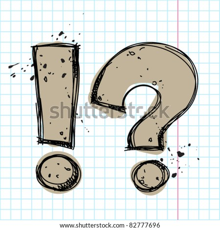 Question and exclamation marks in sketch.-style on a writing-book-background. Vector illustration.