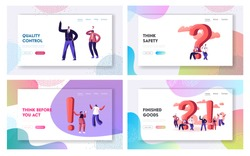 Question and Exclamation Marks Website Landing Page Set. People Having Doubts Solving Problems Searching Information and Creative Ideas, FAQ Helpdesk Web Page Banner. Cartoon Flat Vector Illustration