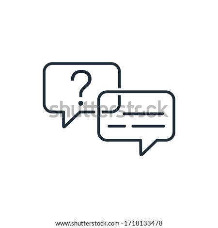 Question answer. Dialogue, interview. Vector linear icon isolated on white background. Foto stock ©