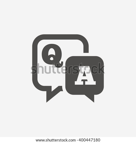Question answer icon. Q&A symbol. Flat sign on white background. Vector.